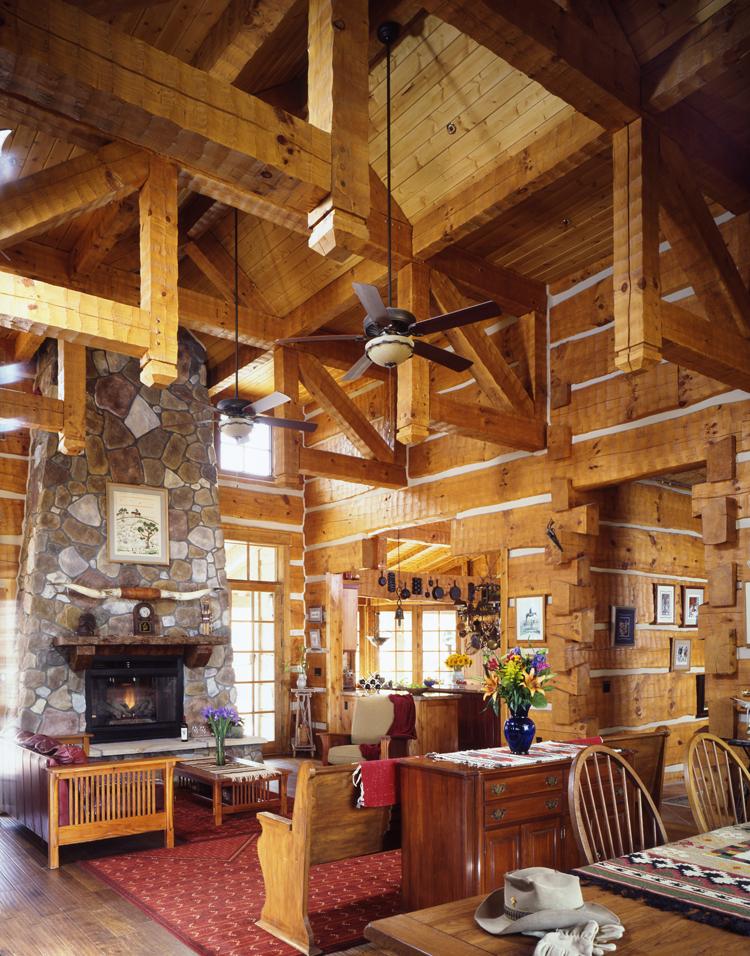 Log home living for Square log home