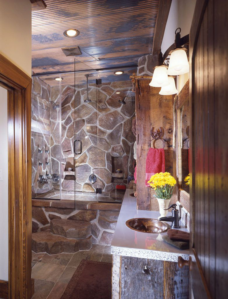 Log Home Bathroom.