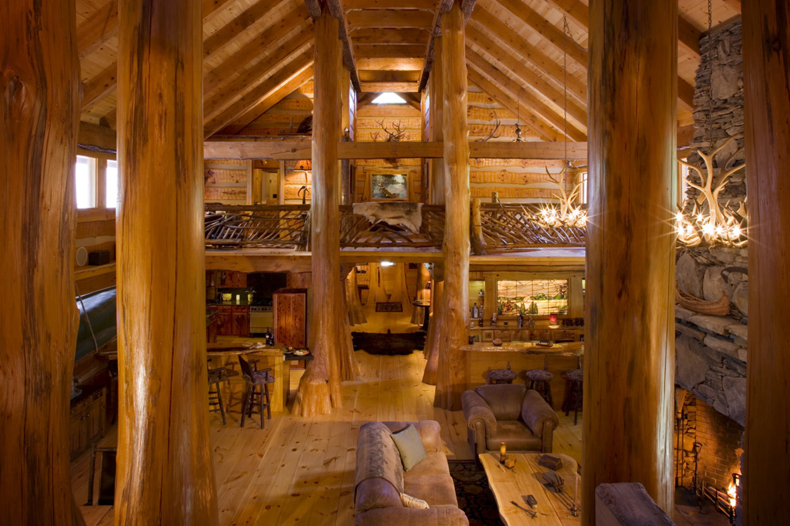 Log home interiors for Log cabin house plans with loft