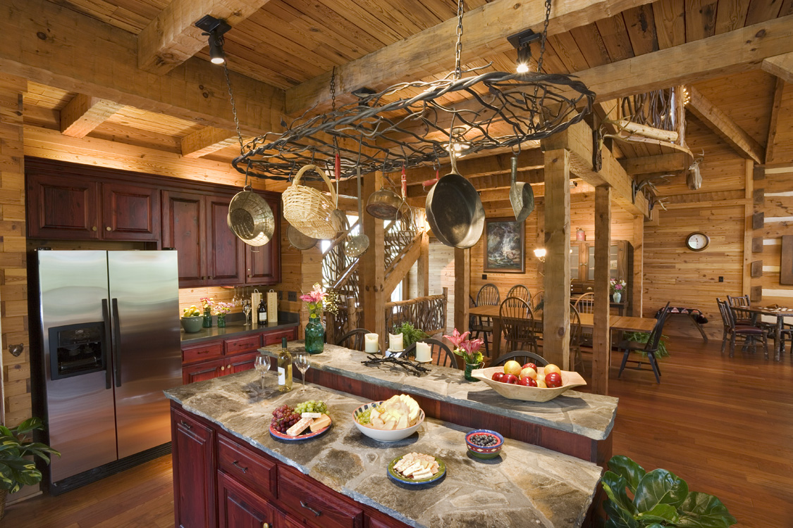 Log home interiors for Log home kitchens gallery